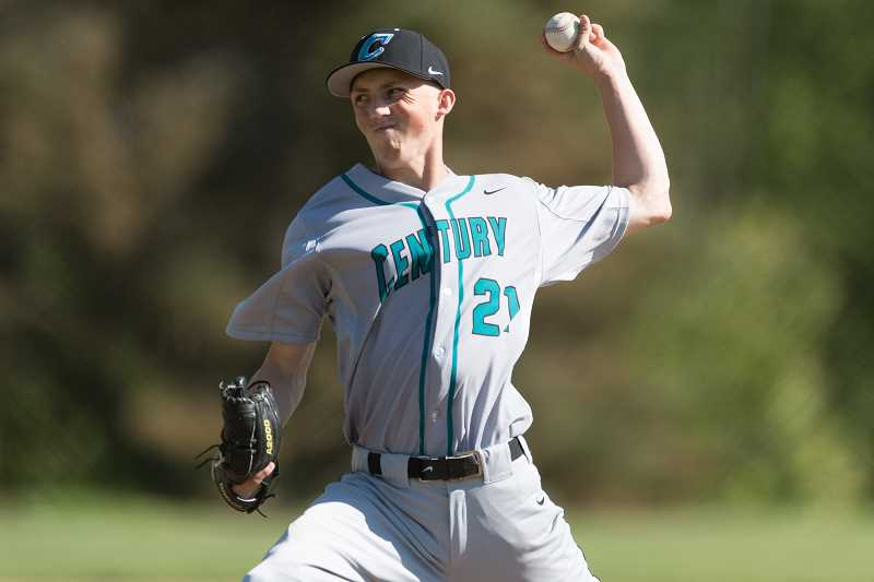 STAFF PHOTO: CHRISTOPHER OERTELL - Century's Micky Thompson throws a pitch during the Jaguars' first round playoff win over Lincoln May 23, at Gabriel Park in Portland.