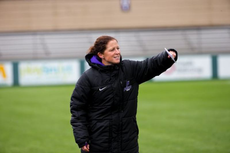 COURTESY: UNIVERSITY OF PORTLAND - New University of Portland women's soccer coach Michelle French directs traffic during spring drills.