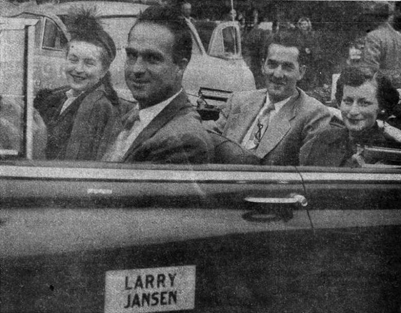 COURTESY: FOREST GROVE NEWS-TIMES - Major league baseball pitcher Larry Jansen (back seat) and his wife are saluted during a parade welcoming him home in Forest Grove.