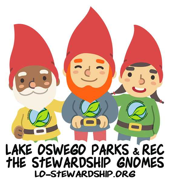 ARTWORK COURTESY CITY OF LAKE OSWEGO - A trio of Stewardship Gnomes were created to encourage interest in Lake Oswego's open spaces and parks stewardship programs. From left: Greenie, Oak and Blossom.