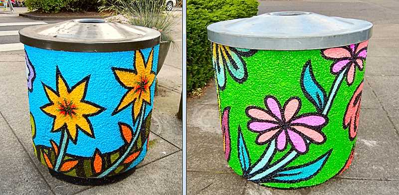 ELIZABETH USSHER GROFF - The trash can at left is located in front of Papaccinos Coffee Shop; the one at right is on the sidewalk south of BiMart. Both of them, and the other eight, add cheer to Woodstock Boulevard.
