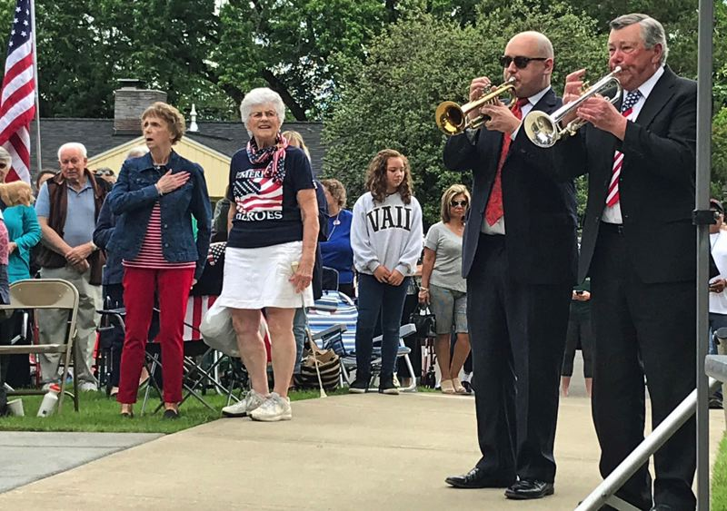 TIMES PHOTO: DANA HAYNES - Buglers perform the 'Call to Colors' at Beaverton's Memorial Day celebration.