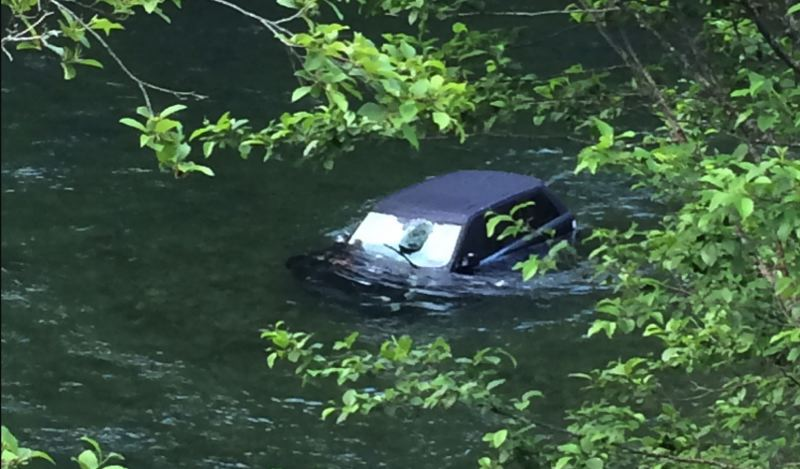 POLICE PHOTO - Deputies say this Land Rover drove off a 40-foot cliff rather than pull over for a traffic stop in Estacada on Sunday, May 27.