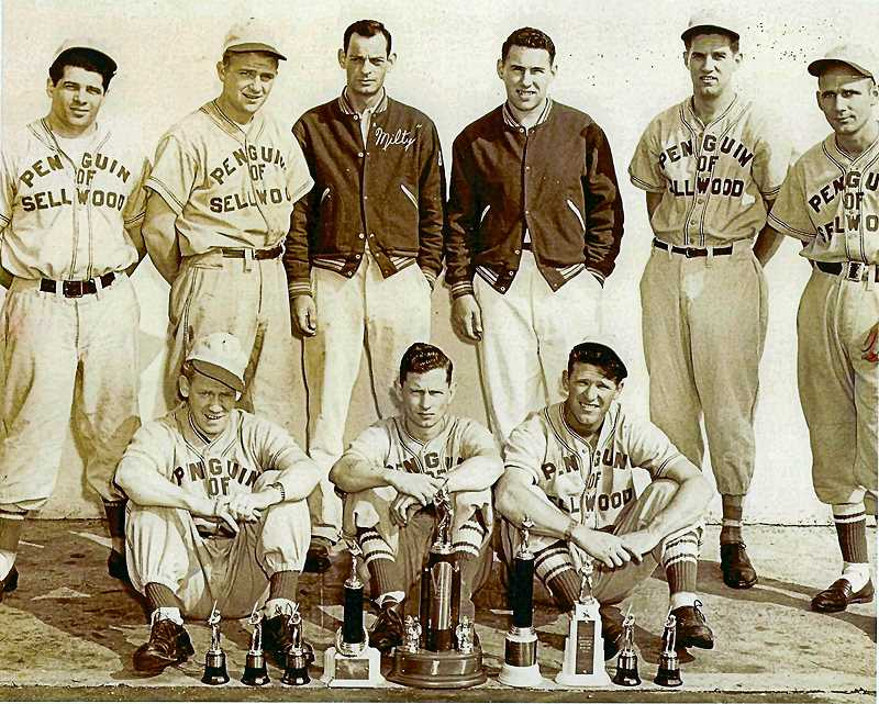COURTESY OF DEANN CARPENTIER  - Good ole boys from the 1947 Sellwood Penguins baseball team, sponsored by the  tavern. From left, standing, are Bill Mascott, Pat Murphy, Milton Jones, Gene Jaquest, Gene Dixon, and Louie Michaud. From left side to right, sitting, are John More, Frank Richardson, and John Conroy.