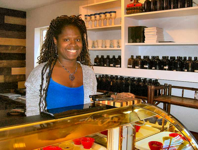 RITA A. LEONARD - Ayomide Nikzi helped conceive the whole collective, and also is co-owner of The Chocolate Laboratory in it, upstairs.