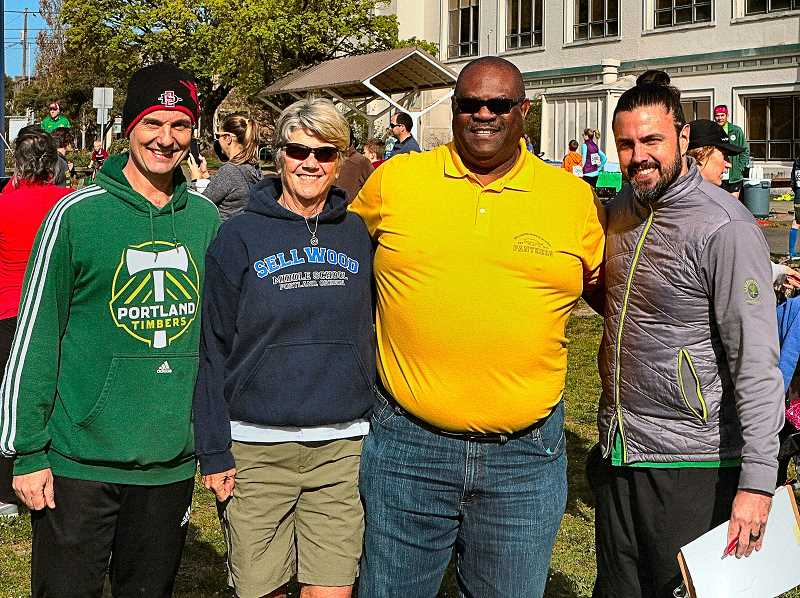 DAVID F. ASHTON - The SMS Foundations 5K Co-Organizer, Brent Welch; SMS Vice Principal Marylyn John; Principal Karl Newsome; and Organizer Lemmy Cooper, got together for a photo for THE BEE just before the 5K run and walk began.