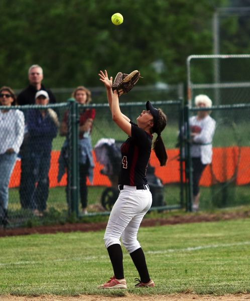 DAN BROOD - Tualatin sophomore shortstop Bella Valdes gets under a pop-up during the Wolves' win over Jesuit.