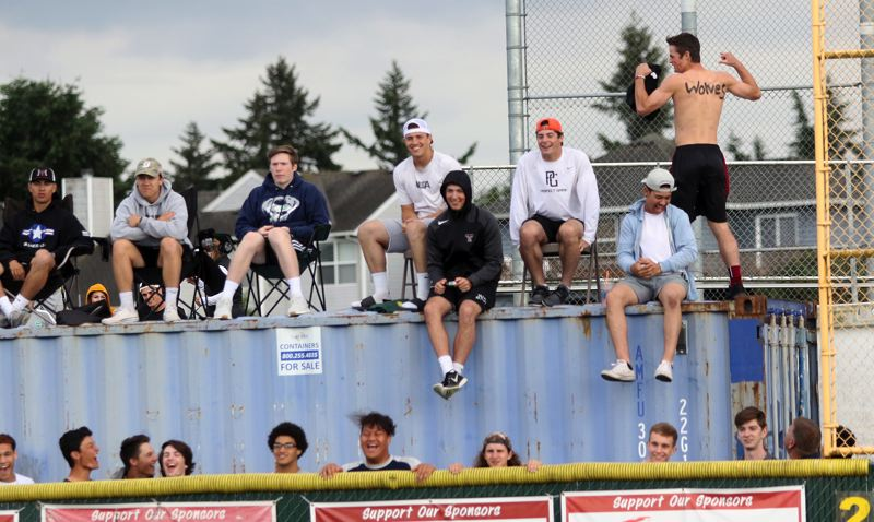 DAN BROOD - The Tualatin High School softball team had plenty of support during Friday's state playoff quarterfinal game, including fans in some improvised right-field bleachers.
