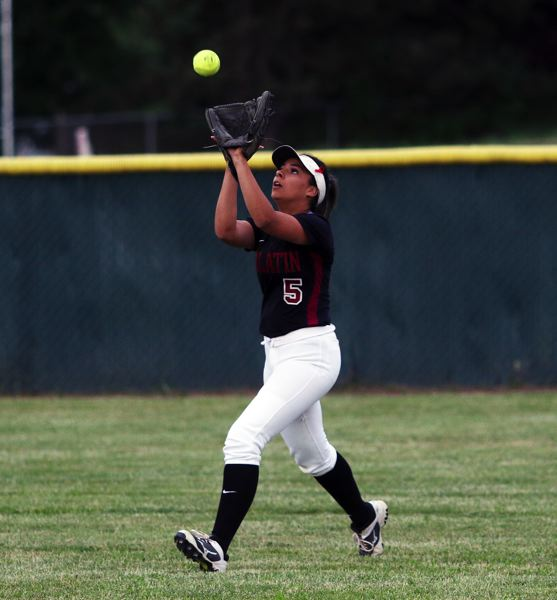 DAN BROOD - Tualatin senior center fielder Zoe Olivera catches a fly ball during the quarterfinal win over Jesuit.
