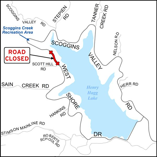 COURTESY MAP: WASHINGTON COUNTY DEPARTMENT OF LAND USE & TRANSPORTATION - West Shore Drive will close temporarily north of Scott Hill Road on the west side of Henry Hagg Lake starting June 4.