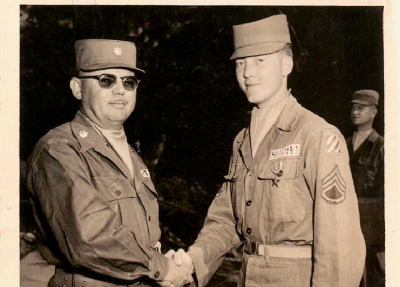 CONTRIBUTED PHOTO: PATRICK HIBBARD - Patrick Hibbard, right, alongside Major Pitts when the pair received the Bronze Star after an explosive event in Korea. Hibbard later made a diorama of the scene.