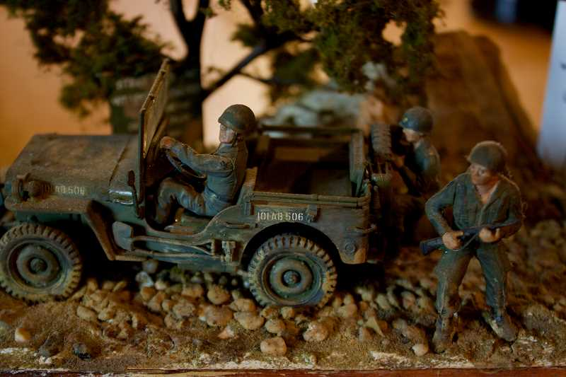 OUTLOOK PHOTO: CHRISTOPHER KEIZUR - One of two dioramas Patrick Hibbard has kept in his home, this scene is based on the moments after his jeep was struck by Chinese mortar fire while serving in Korea.