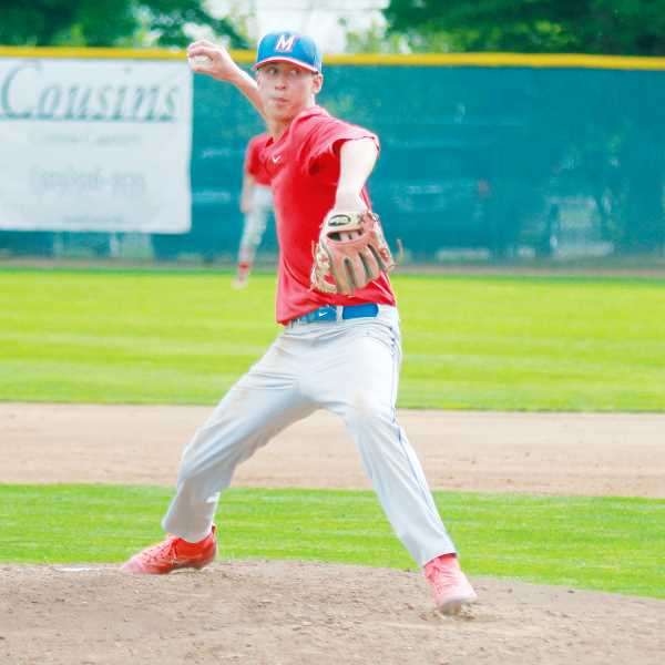 STEELE HAUGEN - Tyler Lockey pitches a ball during the Madras baseball teams state playoff game.