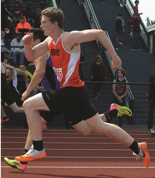 PIONEER PHOTO: TANNER RUSS - Senior David Sumpter made it to the state meet for the Molalla track and field team.