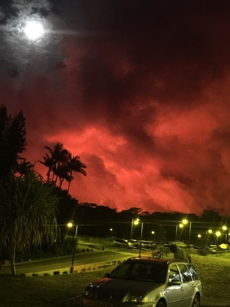 COURTESY OKAY HILL - Wood Village resident Okay Hill took this photo of the Big Island's red skies around 8 p.m. on Saturday, May 26.