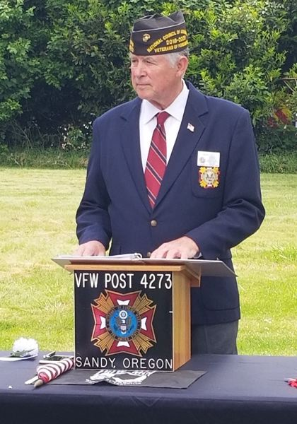 SANDY POST: STEVEN BROWN - Sandy VFW Commander Bert Key addresses the crowd during the event.
