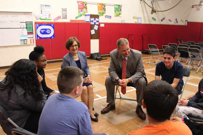 STAFF PHOTO: OLIVIA SINGER - A group of students shared their interests and aspirations with the elected officials following Tuesday's assembly.