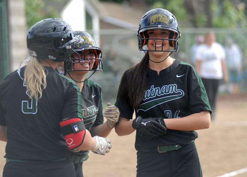 CLACKAMS REVIEW: MATT RAWLINGS - Maddie Mayer (right) crosses home plate with a smile after her three-run homer.