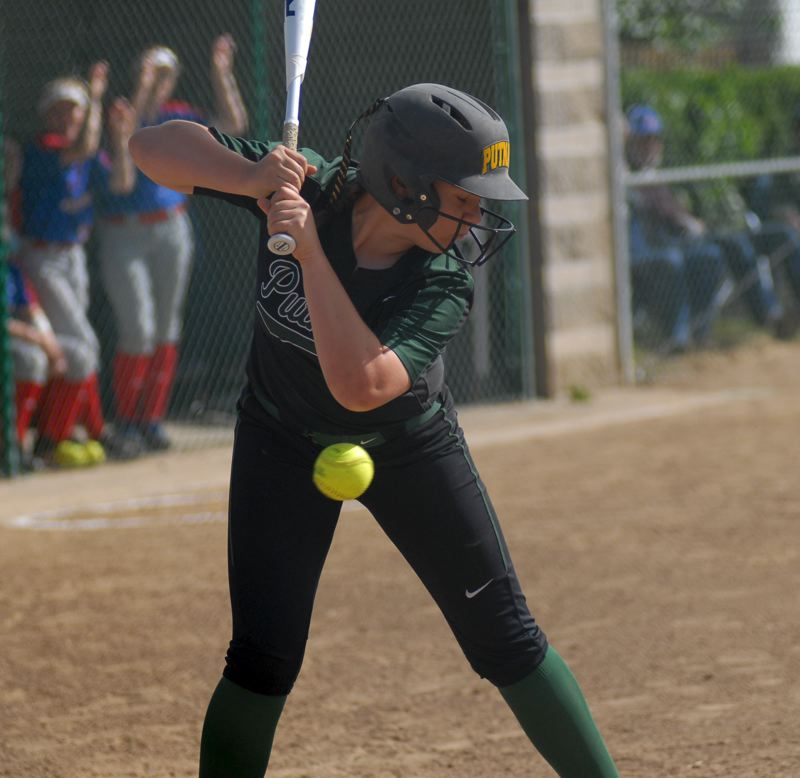 CLACKAMAS REVIEW: MATT RAWLINGS - Grace Vadelund narrowly avoids getting hit with an insdie pitch.