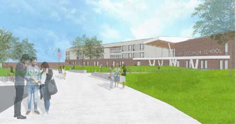 COURTESY: SHERWOOD SCHOOL DISTRICT - This rendering shows what the entrance to the new Sherwood High School will look like.