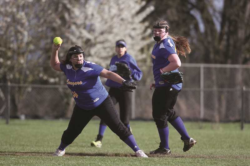 PHIL HAWKINS - From left: Regena Vargas, Bella Vasquez and Jamie Roberts all earned their first softball all-conference nominations this year.