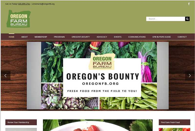 OFB - Oregon's Bounty is a website by Oregon Farm Bureau to help people easily find farm stands, u-pick fields and more.