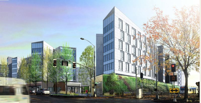 PAMPLIN MEDIA GROUP: FILE PHOTO, COURTESY HOLST ARCHITECTURE - A rendering for an upcoming multifamily development at 1400 N.E. Multnomah St. in the Lloyd District is planned to add 677 market-rate apartments and 12 live-work units to the neighborhood.