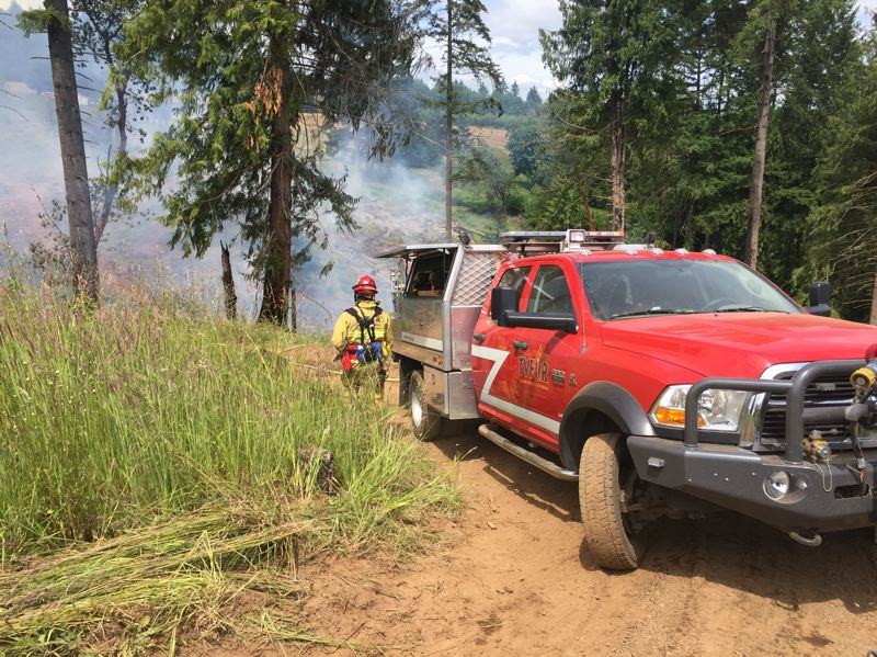 COURTESY PHOTO: TUALATIN VALLEY FIRE & RESCUE - A Tualatin Valley Fire & Rescue emergency responder observes a brush fire in the Laurel area on Wednesday.