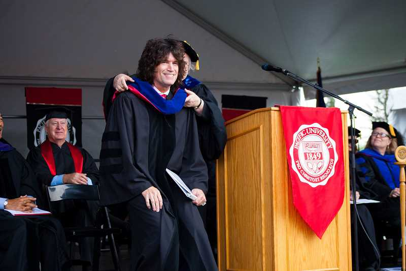 COURTESY OF PACIFIC UNIVERSITY - KISS guitarist Tommy Thayer receives an honorary doctorate of humane letters for his philanthropic leadership at Pacific University in Forest Grove.