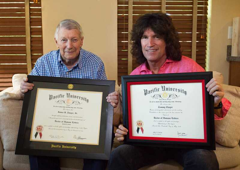 COURTESY OF PACIFIC UNIVERSITY - Brig. Gen. James B. Thayer Sr. of Lake Oswego and his son, KISS guitarist Tommy Thayer, are only the second members of the same family to receive honorary degrees at Pacific University. The elder Thayer received his honorary doctorate in 2009.