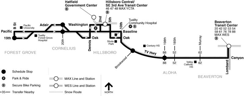 COURTESY MAP: TRIMET - The route map for bus line 57 shows where it runs east-west between downtown Forest Grove and the Beaverton Transit Center.