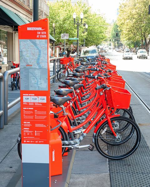 PAMPLIN MEDIA GROUP FILE PHOTO - Biketown's orange rental bicycles will be found in some outer eastside neighborhoods beginning in June.