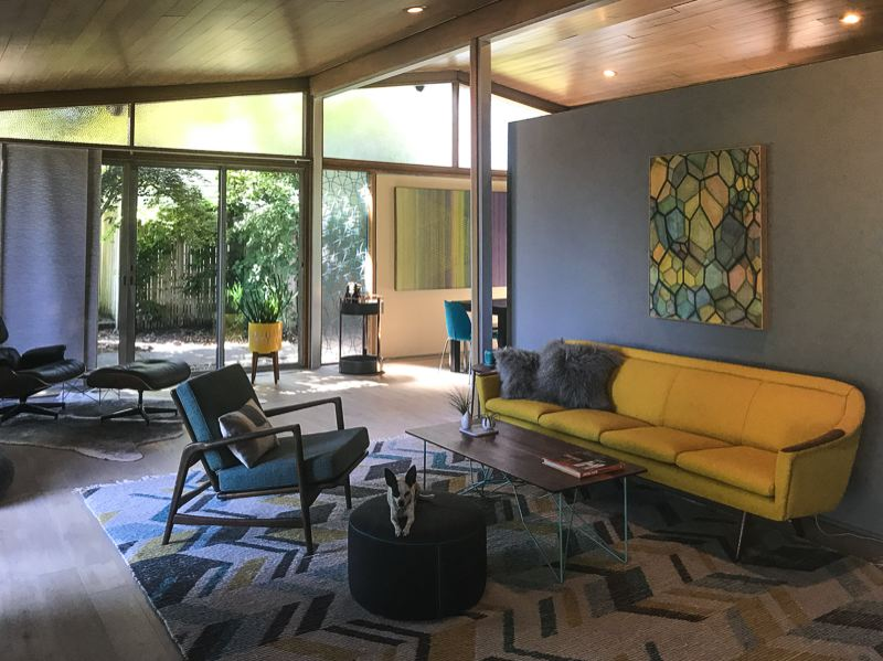 COURTESY: MODERN ARCHITECTURE + DESIGN SOCIETY - THE Living room of the rare, 1957 Alcoa Care-Free Home designed by architect Charles M Goodman and recently remodeled.