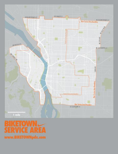 COURTESY MAP: BIKETOWN - A new Biketown service boundary map shows the eastside expansion.