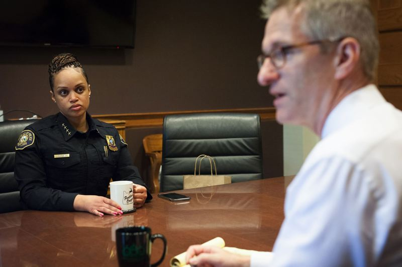 TRIBUNE PHOTO BY JAIME VALDEZ - Chief Outlaw at her weekly meeting with Mayor Ted Wheeler