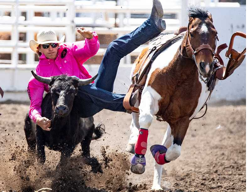 LON AUSTIN/CENTRAL OREGONIAN - Prineville's Jaxson Rhoden makes a steer wrestling run at the Tri-County Rodeo. Rhoden enters the state finals in ninth place in the event. He has also qualified for the state finals in tie-down roping and team roping with heeler Kody Anastasio, also of Prineville.