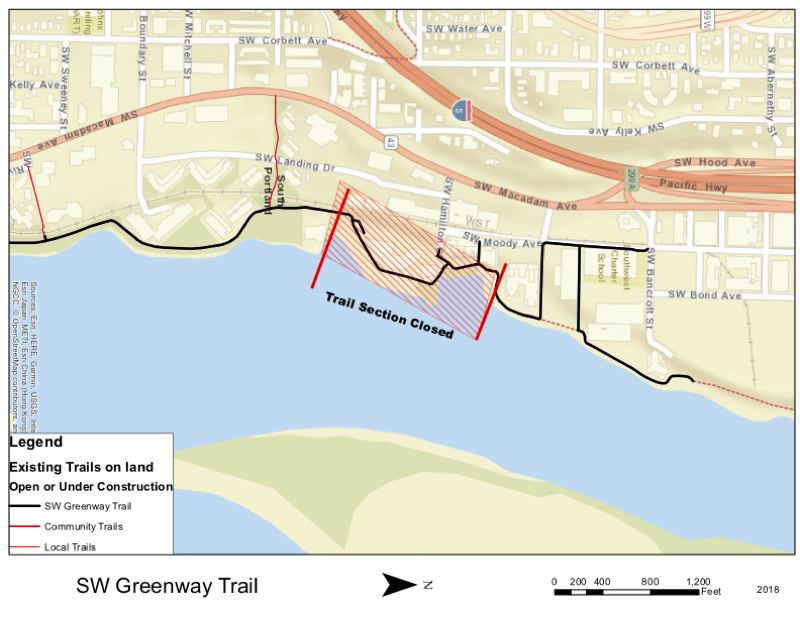 COURTESY ILLUSTRATION: PP&R - A city map shows the section of the trail that will be closed for repairs.