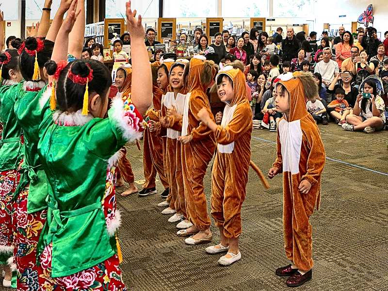 """DAVID F. ASHTON - These young performers with the Portland Arts and Cultural Center present the """"Puppy Dog Dance""""."""