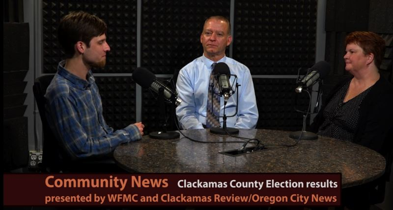 PHOTO COURTESY: WFMC - Clackamas Review Editor Raymond Rendleman, County Commissioner Paul Savas and Gladstone Mayor Tammy Stempel discuss topics of countywide interest at Willamette Falls Media Center in Oregon City.
