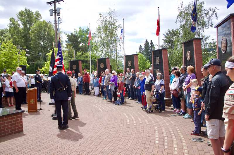 OUTLOOK PHOTO: CHRISTOPHER KEIZUR - About 100 people attended Greshams Memorial Day ceremony Monday morning, May 28.