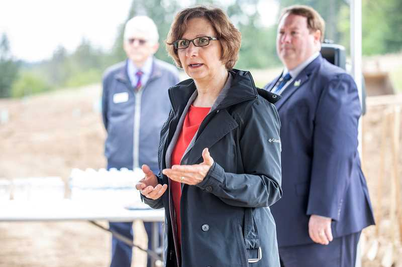TIMES PHOTO: JON HOUSE - On Friday, U.S. Rep. Suzanne Bonamici praised efforts by local, state and federal officials to find money to enhance the Hunziker Industrial Core, a 138-acre site zoned for industrial use off of Hunziker Road.