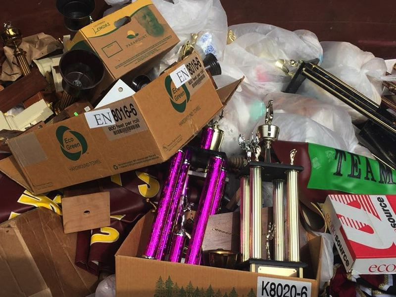 SUBMITTED PHOTO - Milwaukie High School's dumpster filled with trophies.