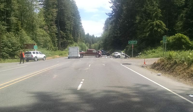 PHOTO COURTESY OF OREGON STATE POLICE - Oregon State Police are investigating a fatal crash on Highway 30 that killed four people Friday, June. 1. Emergency crews are on scene investigating and the highway will likely remain closed for most of the day.