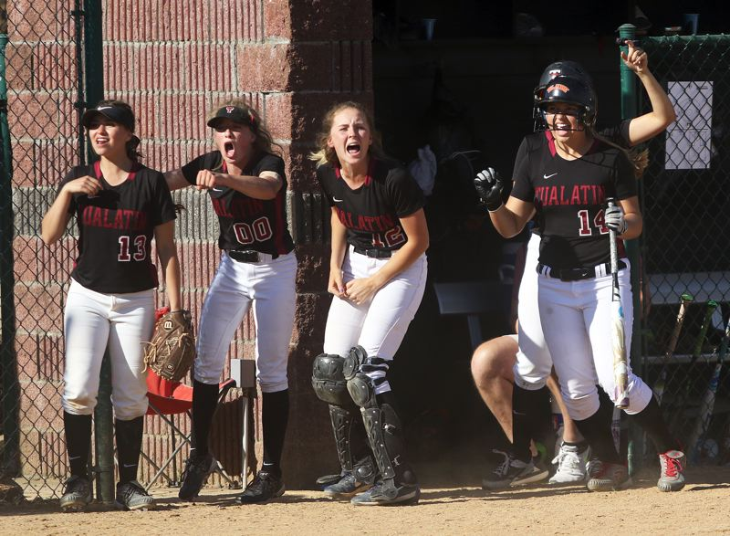 PAMPLIN MEDIA GROUP PHOTO: DAN BROOD - The top-ranked Tualatin softball team is hoping for many more reasons to cheer when they face No. 3 Clackamas in the Class 6A state championship at 1 p.m. Saturday at the OSU Softball Complex.