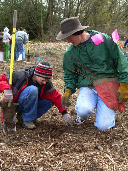 CONTRIBUTED PHOTO: PLEASANT VALLEY ELEMENTARY SCHOOL  - Volunteers plant native seedlings several years ago as the Wildside was being restored.