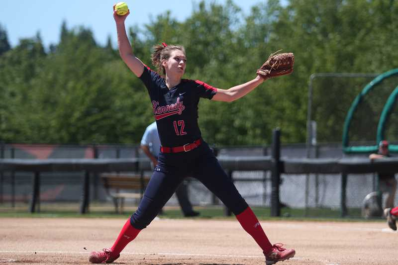 PHIL HAWKINS - Kennedy senior Tressa Riedman earned Player of the Game honors after limiting Pilot Rock to one hit and one walk while striking out 11 batters in the Trojans' 10-0 victory in the 2018 2A/1A State Softball Championship.