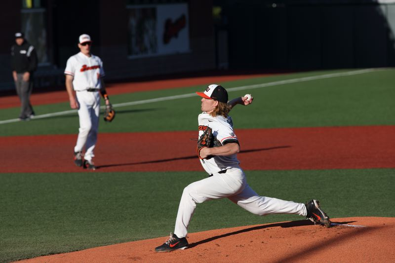 TRIBUNE PHOTO: SCOTT CASSIDY - Oregon State starter and winning pitcher Bryce Fehmel delivers against Northwestern State.