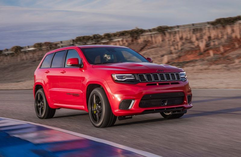 CONTRIBUTED - The 2018 Jeep Grand Cherokee Trackhawk is distinguished by its huge air dam, wide tires, and menancing exhaust.