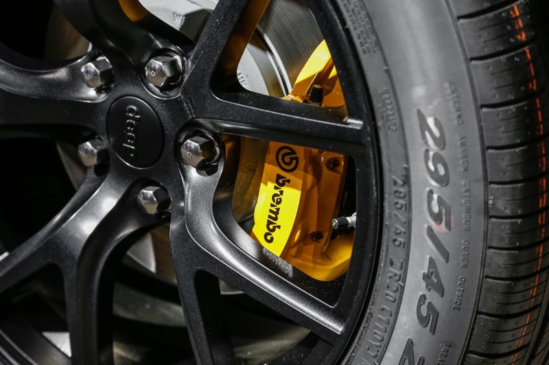 CONTRIBUTED - The big Brembo brakes help keep the Trackhawk under control.