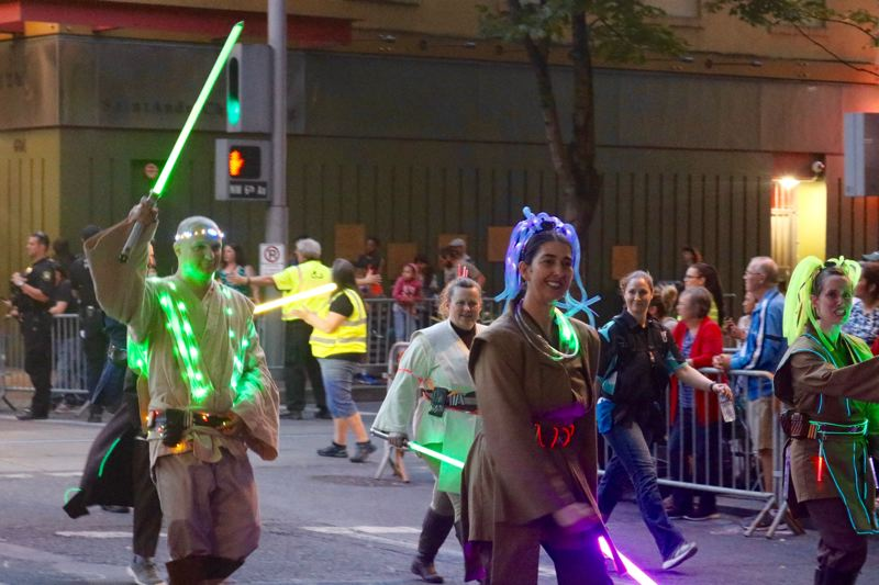 TRIBUNE PHOTO: ZANE SPARLING - Illuminated jedis march during the 2018 Starlight Parade on Saturday, June 2 in Portland.